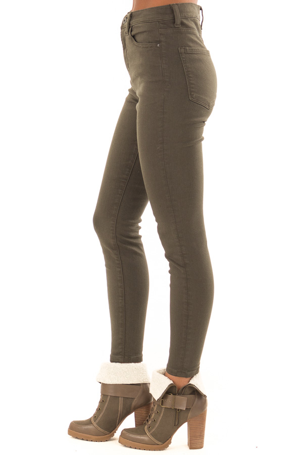 Olive High Waisted Skinny Jeans with Pockets side view