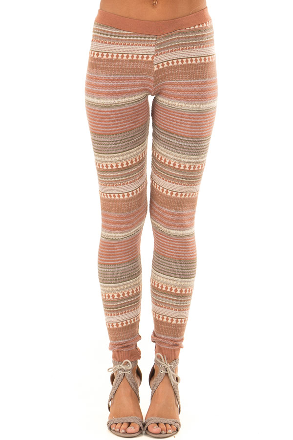 49f696cba0a Rust and Oatmeal Detailed Striped Knit Leggings - Lime Lush Boutique