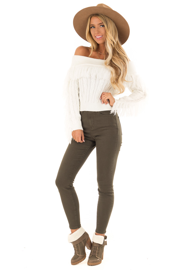 Ivory Off the Shoulder Long Sleeve Crop Sweater w/ Fringe front full body