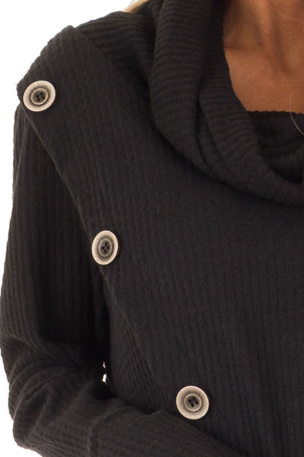 Midnight Black Cowl Neck Waffle Top with Button Detail detail