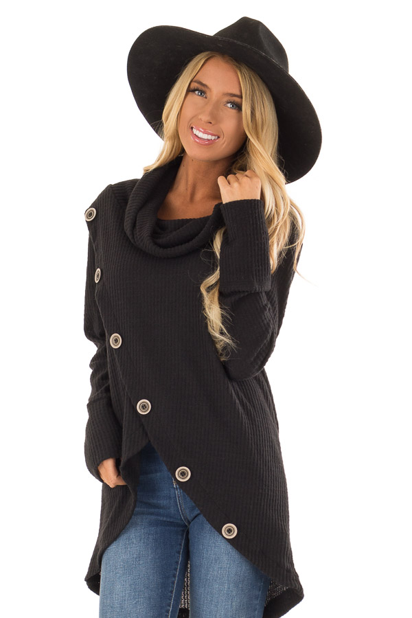 Midnight Black Cowl Neck Waffle Top with Button Detail front close up