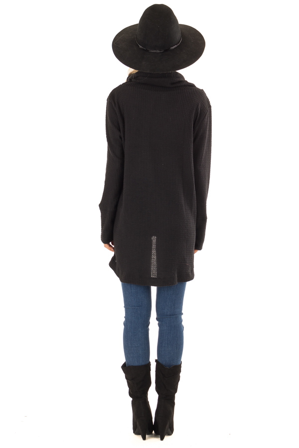 Midnight Black Cowl Neck Waffle Top with Button Detail back full body