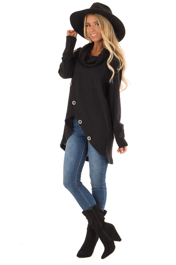 Midnight Black Cowl Neck Waffle Top with Button Detail front full body