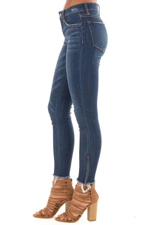 Dark Denim Mid Rise Ankle Skinny Jeans with Side Zippers side view