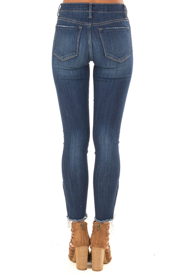 Dark Denim Mid Rise Ankle Skinny Jeans with Side Zippers back view
