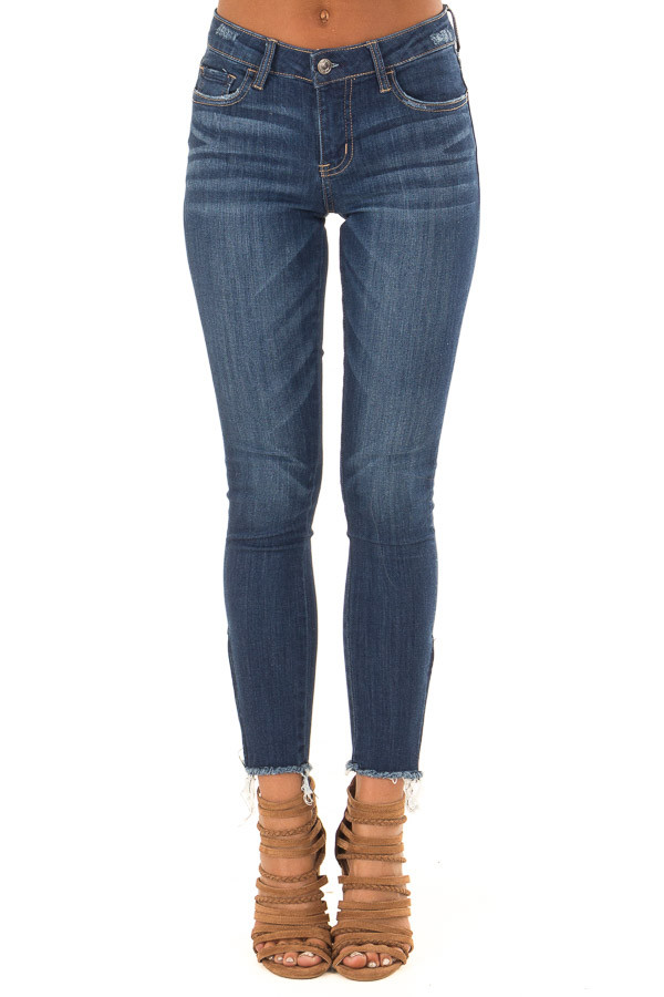 Dark Denim Mid Rise Ankle Skinny Jeans with Side Zippers front view