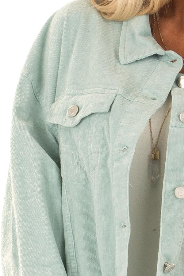 Mint Green Oversized Button Up Corduroy Jacket detail