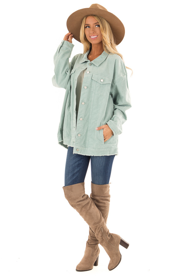 Mint Green Oversized Button Up Corduroy Jacket front full body