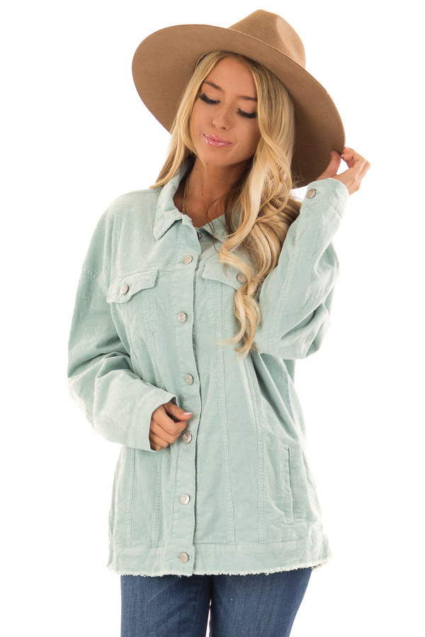 Mint Green Oversized Button Up Corduroy Jacket front close up