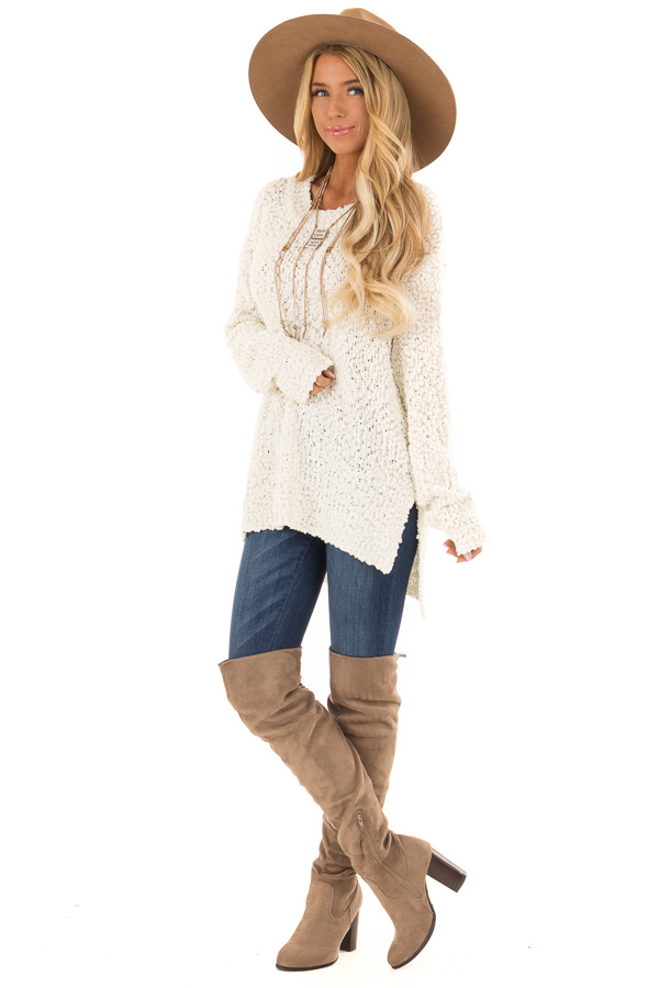 Ivory Long Sleeve Pullover Sweater with Side Slits front full body