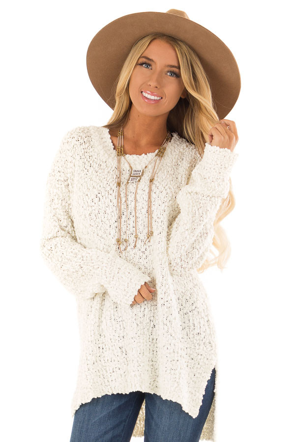Ivory Long Sleeve Pullover Sweater with Side Slits front close up