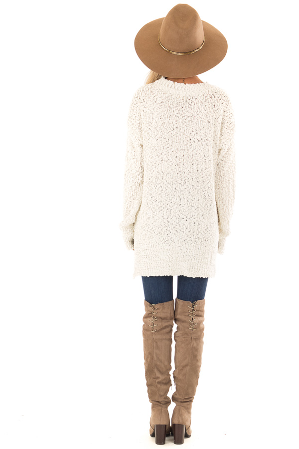 Ivory Long Sleeve Pullover Sweater with Side Slits back full body