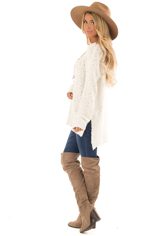 Ivory Long Sleeve Pullover Sweater with Side Slits side full body