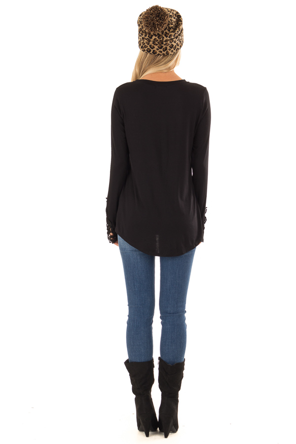 Black Long Sleeve Top with Breast Pocket and Lace Detail back full body