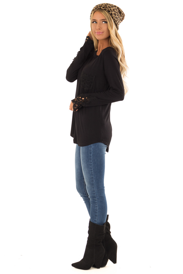 Black Long Sleeve Top with Breast Pocket and Lace Detail side full body