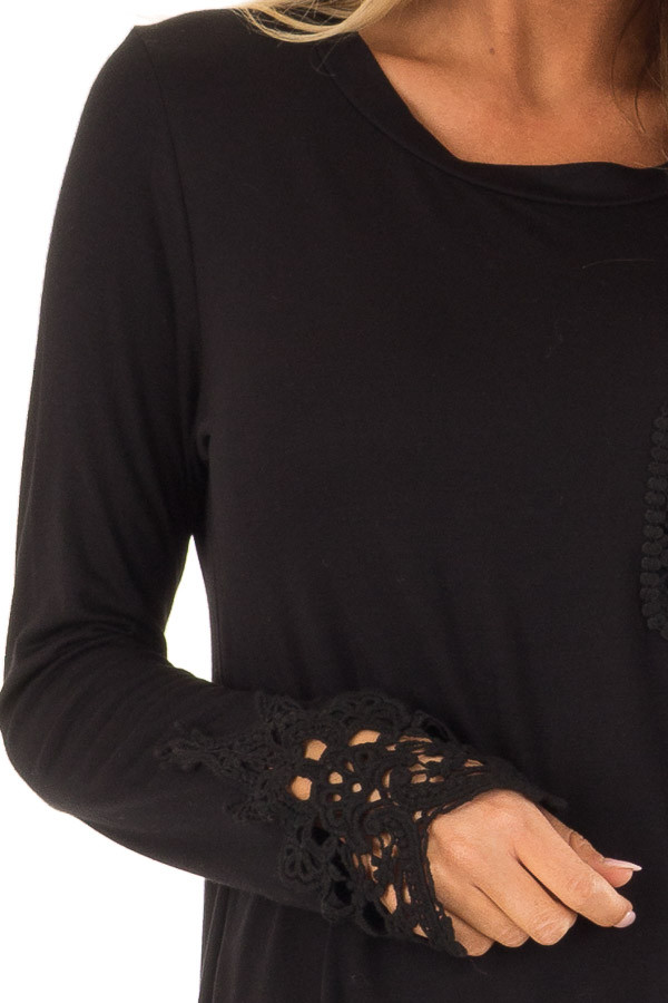 Black Long Sleeve Top with Breast Pocket and Lace Detail detail