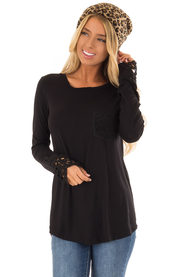 Black Long Sleeve Top with Breast Pocket and Lace Detail front close up