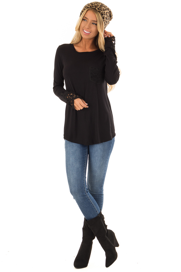 Black Long Sleeve Top with Breast Pocket and Lace Detail front full body
