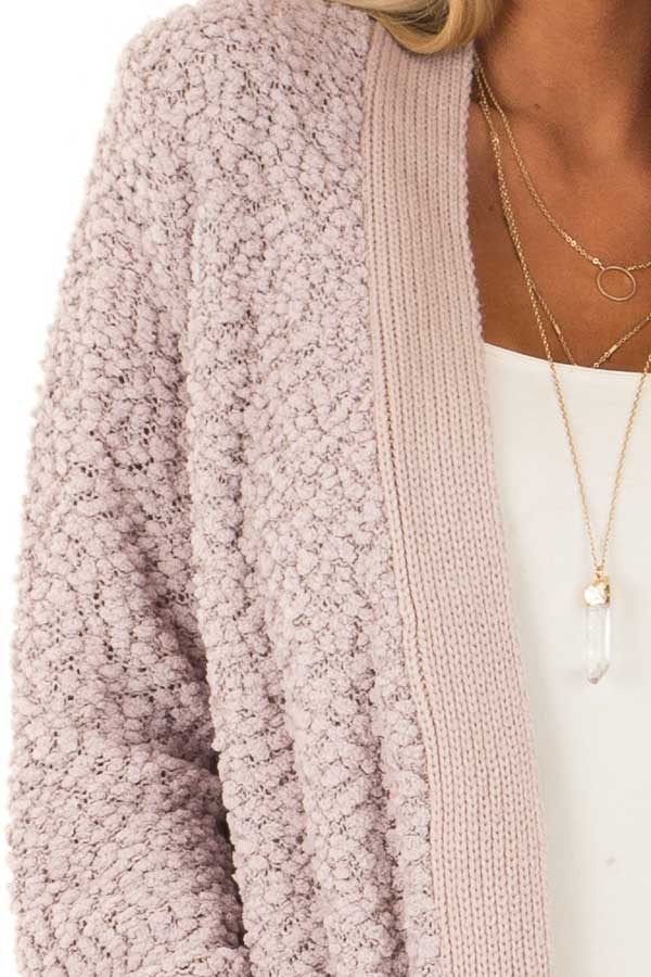 Dusty Lavender Open Front Popcorn Cardigan with Pockets detail