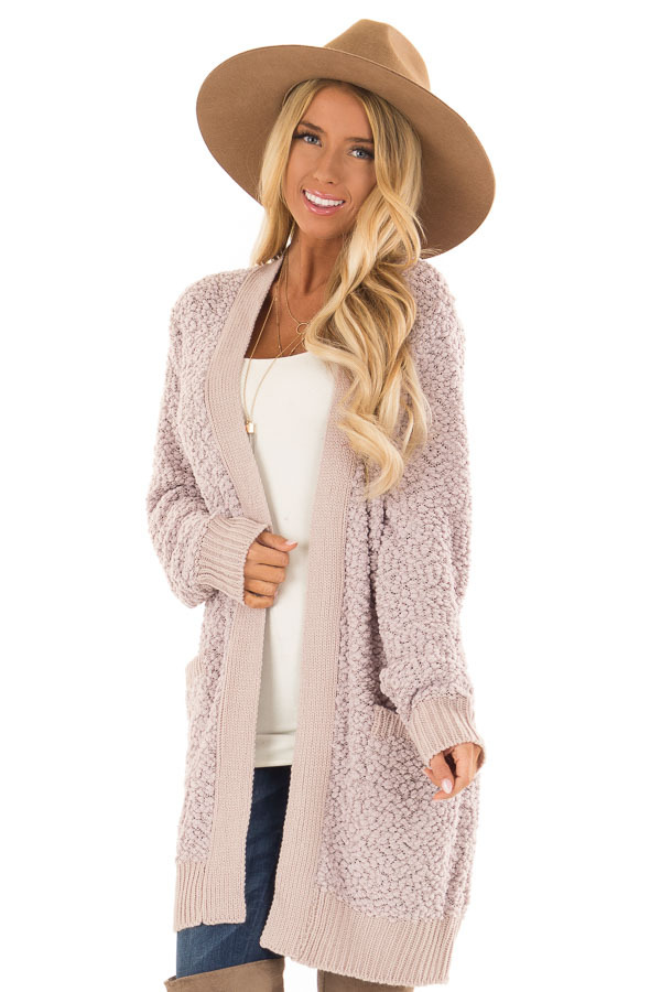 Dusty Lavender Open Front Popcorn Cardigan with Pockets front close up