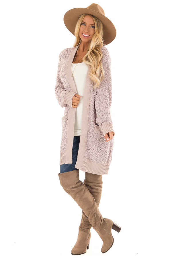 Dusty Lavender Open Front Popcorn Cardigan with Pockets front full body