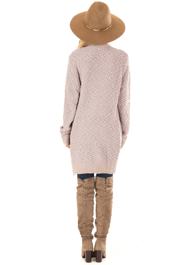 Dusty Lavender Open Front Popcorn Cardigan with Pockets back full body