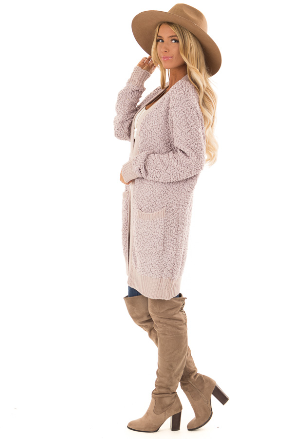 Dusty Lavender Open Front Popcorn Cardigan with Pockets side full body