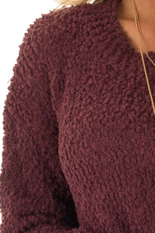 Plum Long Sleeve Pullover Sweater with Side Slits detail