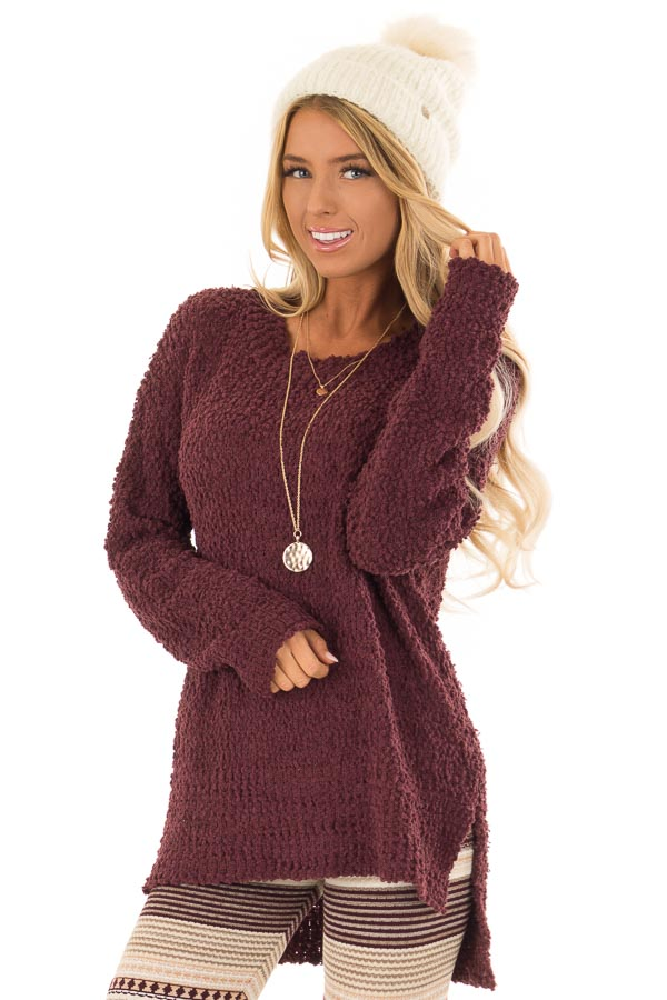 Plum Long Sleeve Pullover Sweater with Side Slits front close up
