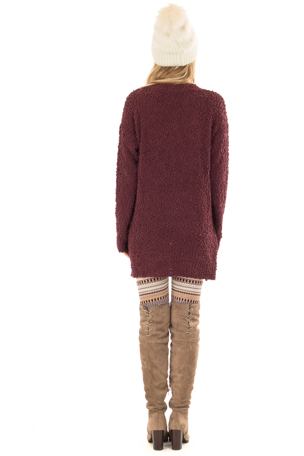 Plum Long Sleeve Pullover Sweater with Side Slits back full body