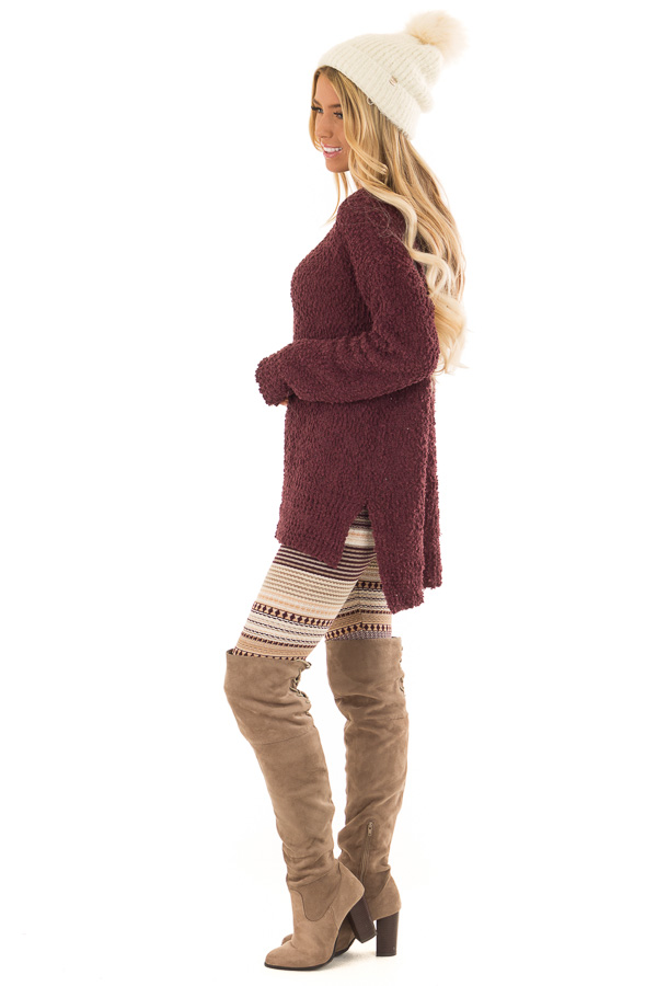 Plum Long Sleeve Pullover Sweater with Side Slits side full body