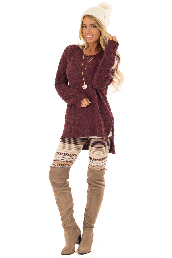 Plum Long Sleeve Pullover Sweater with Side Slits front full body