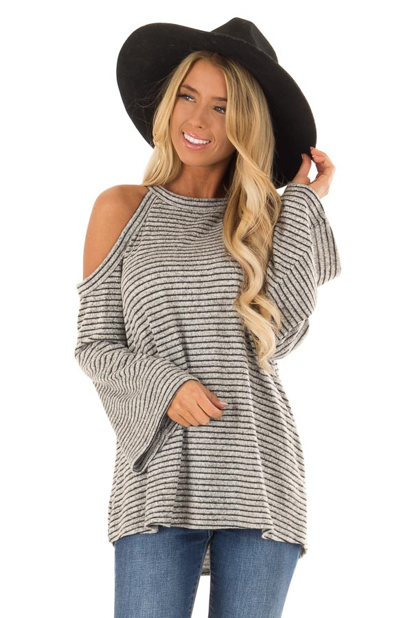 5f54c703aff02 Heather Grey and Black Striped Cold Shoulder Long Sleeve Top front close up