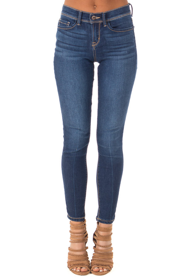 Medium Wash Mid Rise Skinny Jeans front view