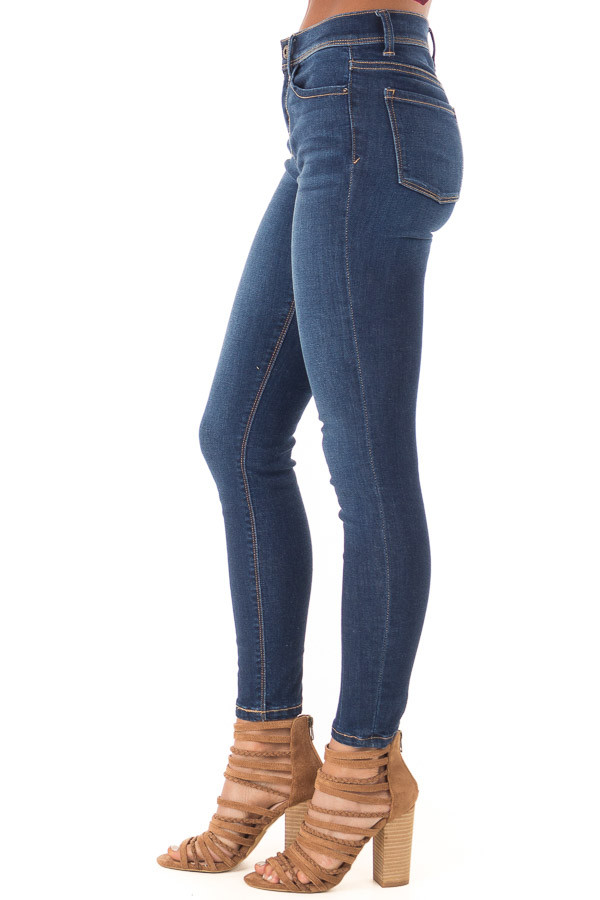 Medium Wash Mid Rise Skinny Jeans side view
