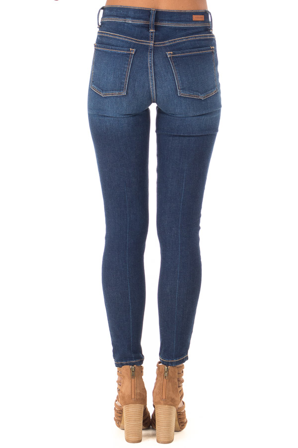 Medium Wash Mid Rise Skinny Jeans back view
