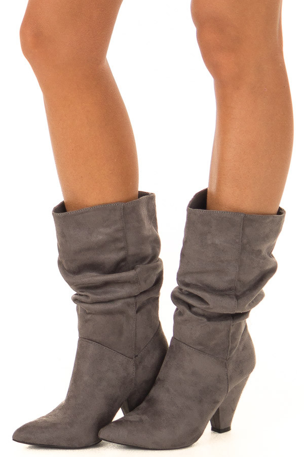 f0dd531ed05 Dark Grey Slouched Mid Calf Pointed Toe Heeled Boots