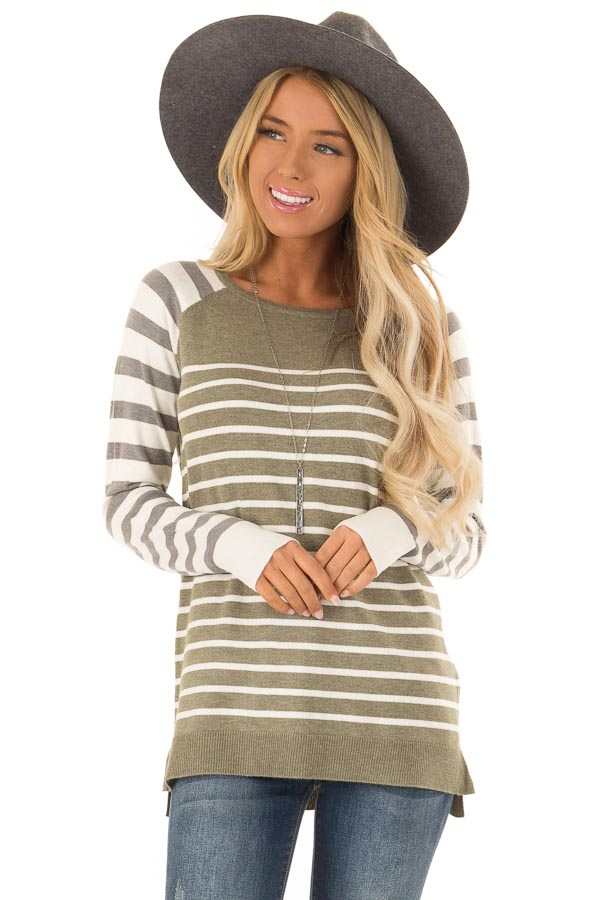 Olive Ivory and Grey Striped Long Sleeve Sweater front close up