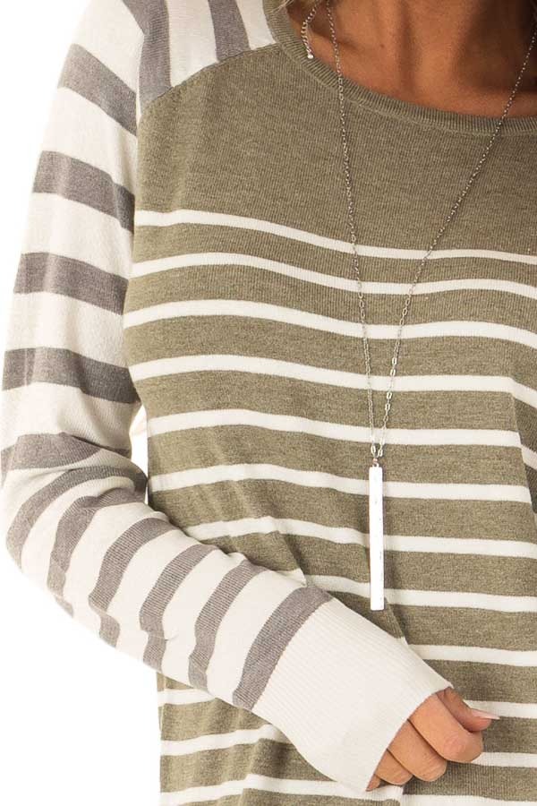 Olive Ivory and Grey Striped Long Sleeve Sweater detail