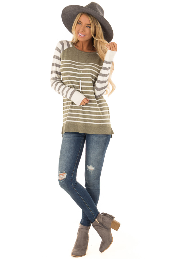 Olive Ivory and Grey Striped Long Sleeve Sweater front full body