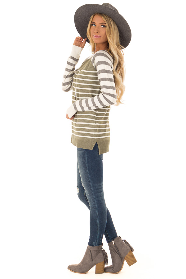 Olive Ivory and Grey Striped Long Sleeve Sweater side full body
