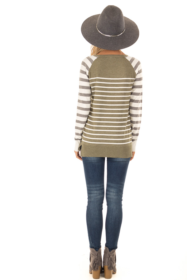 Olive Ivory and Grey Striped Long Sleeve Sweater back full body