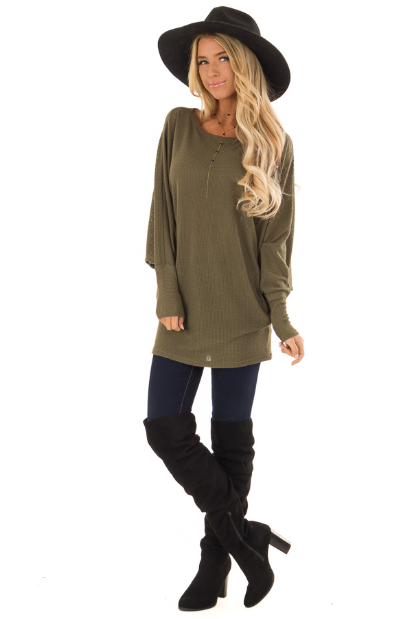 ceed8c691cce37 ... Olive Oversized Off the Shoulder Long Sleeve Top front full body ...