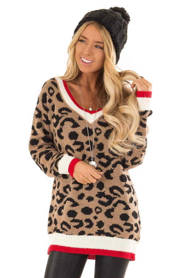 8dae27697cc0 Mocha Leopard Print Long Sleeve Sweater with Red V Neck - Lime Lush ...