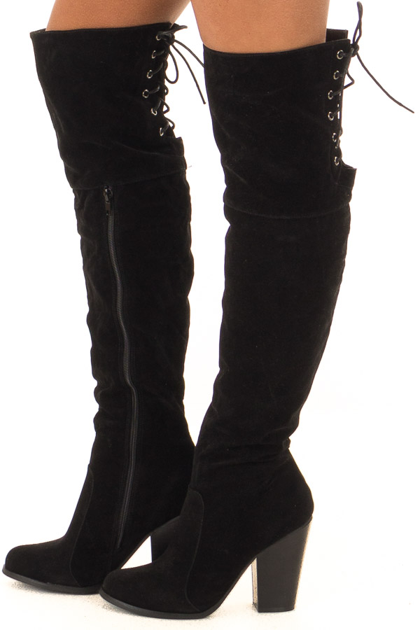 f71e443d52f9 Black Knee High Boots with Lace Back and Chunky Heel - Lime Lush ...