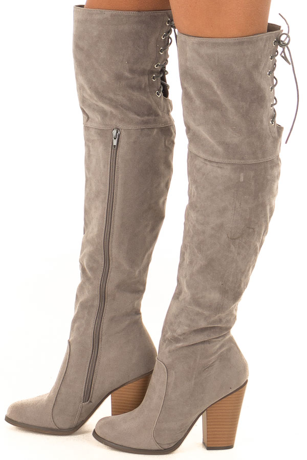 02a5e89a7863 Light Grey Knee High Boots with Lace Back and Chunky Heel - Lime ...