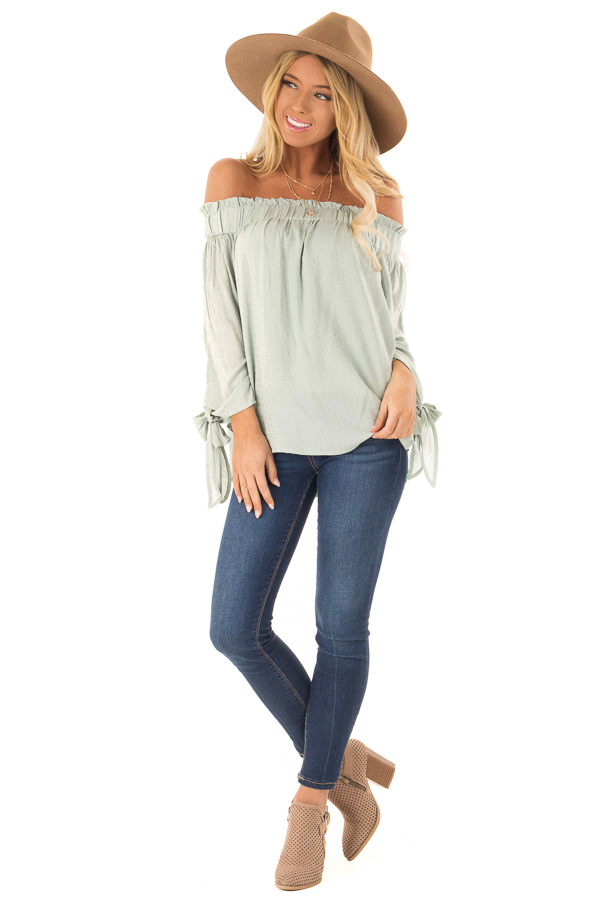 b51b4821a832 Mint Green Off the Shoulder Ruffle Top with Sleeve Ties front full body ...