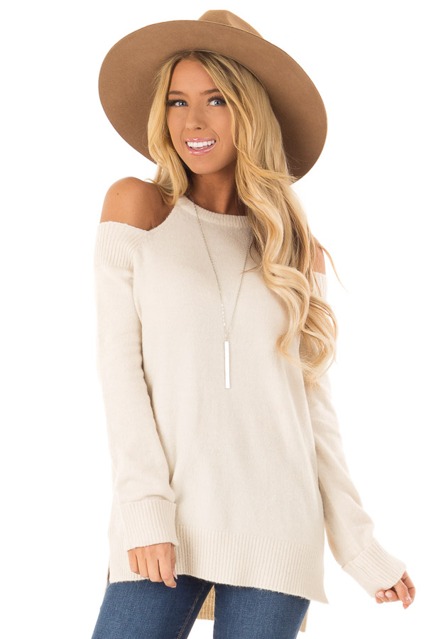 Cream Cold Shoulder Long Sleeve Top with Side Slits front close up