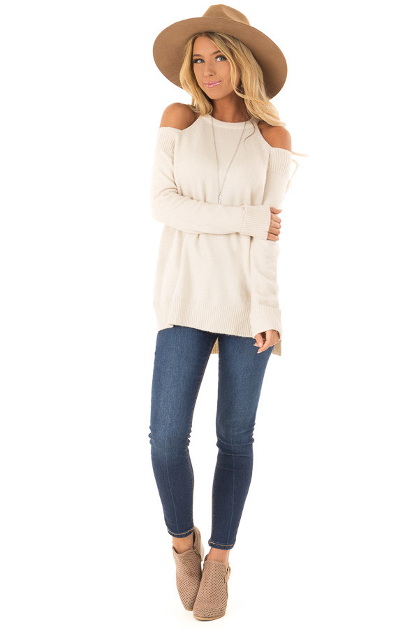 Cream Cold Shoulder Long Sleeve Top with Side Slits front full body