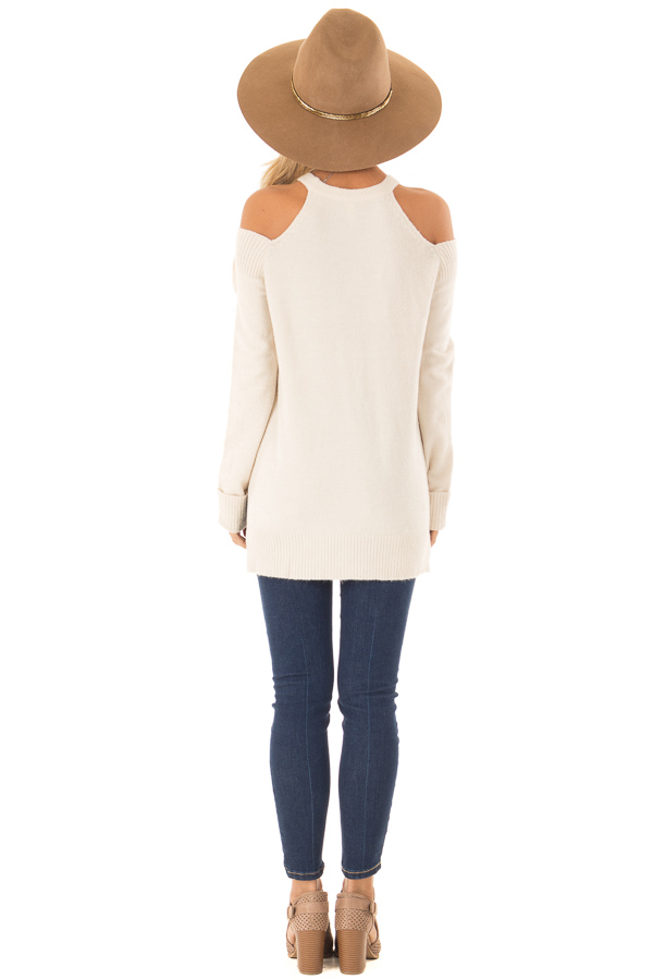 Cream Cold Shoulder Long Sleeve Top with Side Slits back full body